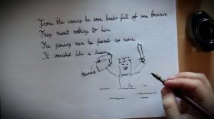 Luonnoksia.  Onneksi lopullista tuotosta varten löytyi piirtämistaitoisempi artisti.